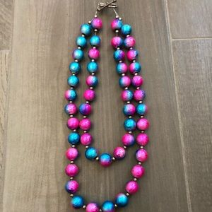 Cotton candy double strand beaded necklace